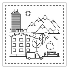Coloring page for kids with city landscape, houses, car, trees and bench. Vector illustration