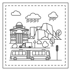 Coloring page for kids with houses, trees, mountains, trolleybus and traffic light. Vector illustration