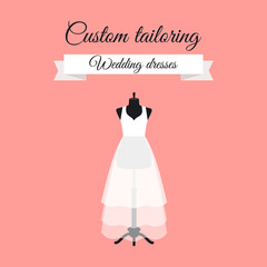 Custom tailoring wedding dresses logo design with mannequin. Vector illustration