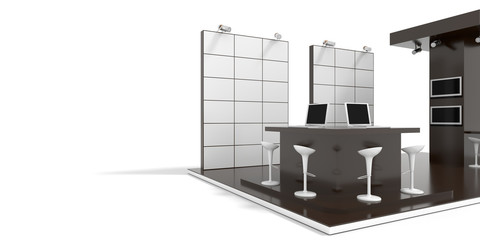 Exhibition stand on white, with copy space on the displays and panels