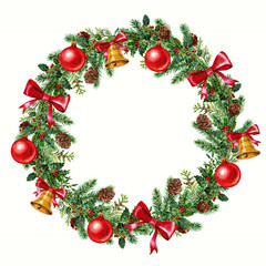 christmas wreath with red  new year's eve ball watercolor on the white background