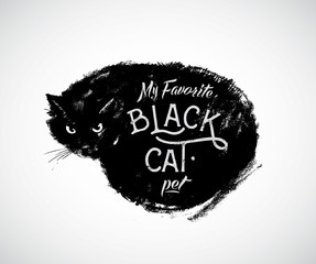 Graphical vector illustration of a cat and the inscription.