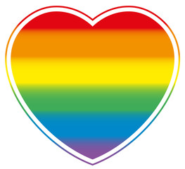Gay love symbolized with a rainbow colored gay pride heart.