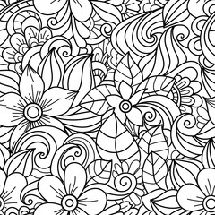 Seamless pattern with  floral doodle elements. Hand Drawn decorative illustration.