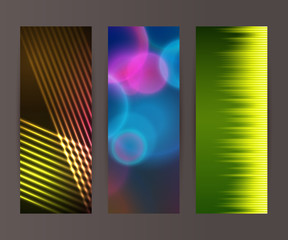Vertical banner set design element background glow abstract shap