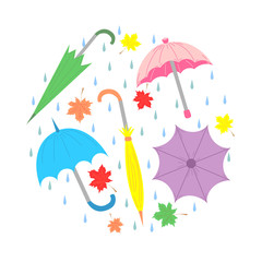 Set of Hand Drawn Colorful Umbrellas, Maple Leaves and Drops Arranged in a Circle. Perfect for Print. Flat Style. Vector Illustration.