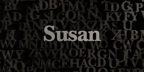 Susan - Stock image of 3D rendered metallic typeset headline illustration.  Can be used for an online banner ad or a print postcard.