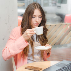 Girl coffee laptop