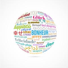 """mot""""bonheur""""multilingue"""