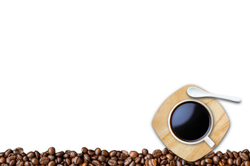 A white cup of coffee and beans isolate on white background with