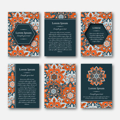 Set of cards, flyers, brochures, templates with hand drawn manda