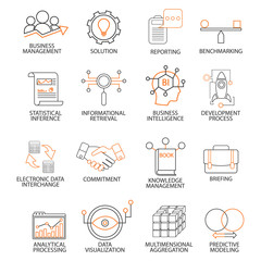 Icons related to support business management, strategy, career progress and business process. Mono line pictograms and infographics design elements