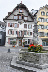 The central square of Sarnen on the Swiss Alps