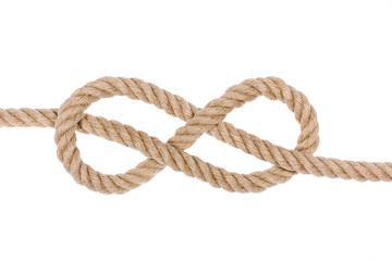 Nautical rope knot. Figure eight knot isolated on white background.