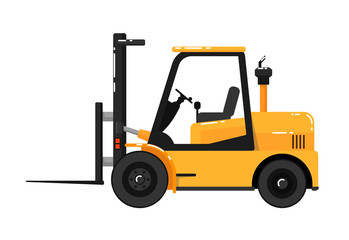 Yellow forklift truck isolated on white background vector illustration. Construction machine in flat design. Auto loader. Building equipment. Commercial vehicle.