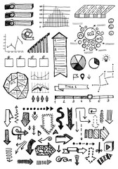 Vector hand drawn business infographics sketch or set chart, graph, diagram doodle.