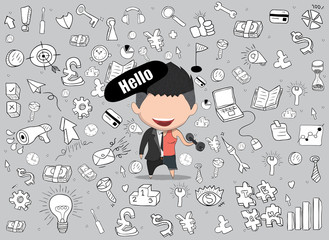 Vector illustration of a happy face businessman on icon business