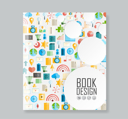 Cover report social network background with media icons, vector