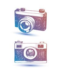 Vector hand drawn retro camera. Hipster illustration. Use as card