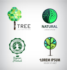 Set of vector green tree logos. Eco, organic, plant logotypes.
