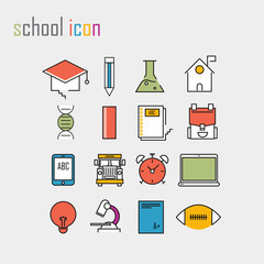 Line icons, school, school icons,Modern infographic vector logo