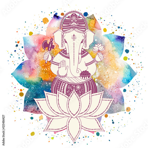 Ganesha Or Ganapati Indian Deity In The Hindu In Lotus Flower With