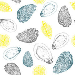 Oysters and lemons seamless vector pattern. Linear graphic. Vector illustration of oysters. Vintage design template.