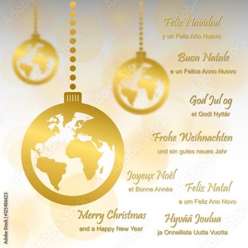 Weihnachtsgrüße In Verschiedenen Sprachen.Weihnachtsgrüße In Verschiedenen Sprachen In Gold Stockfotos Und