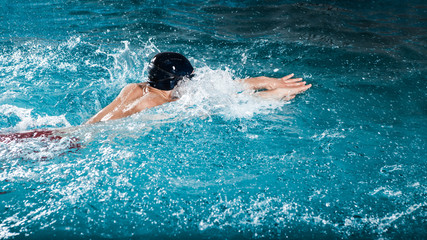 Dynamic and fit swimmer