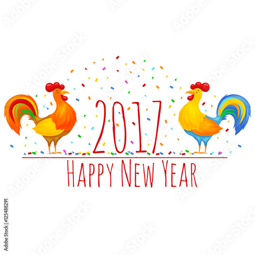 of rooster, cock, symbol of 2017 New Year on the Chinese calendar ...