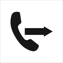 Outgoing call symbol silhouette icon on background