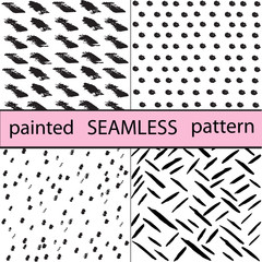 hand drawn ink painted seamless pattern collection