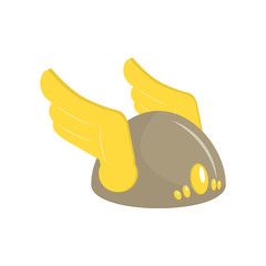 Icon with wings on his helmet. Armor. Vector
