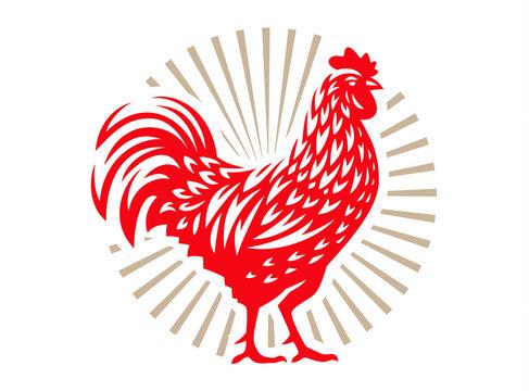 Vector illustration of rooster, symbol 2017