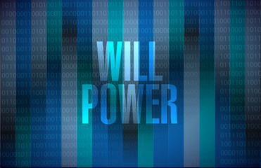 will power binary background sign concept