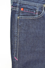 Blue jeans front pocket and side seam