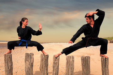 Two martial arts fighters practicing combat sport on the beach poles: man and woman doing a Karate - Viet Vo Dao posture