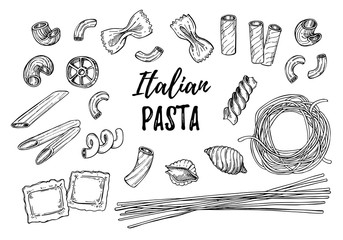 Hand drawn vector illustration - Italian pasta. Different kinds of pasta