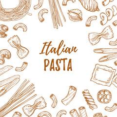 Hand drawn vector illustration - Italian pasta. Different kinds of pasta