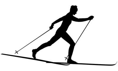 Silhouette d'un skieur de fond.