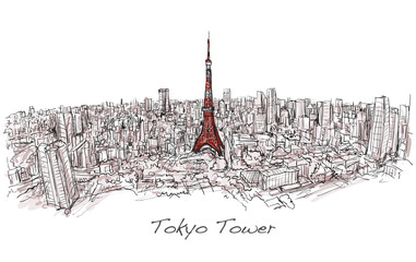 Sketch of city scape Tokyo Tower with building skyline