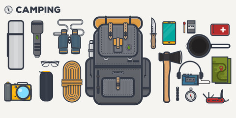 Travel backpack line illustration