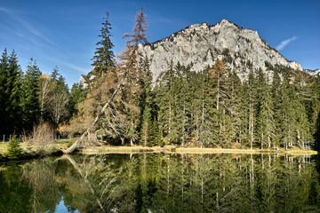 Der Pfarrerteich im Herbstkleid, im Hintergrund die Pribitz. Der Grüne See in unmittelbarer Nähe ist Gewinner des Wettbewerbs im Jahr 2014