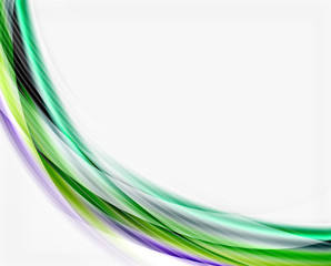 Smooth colorful line on white. Wave abstract background