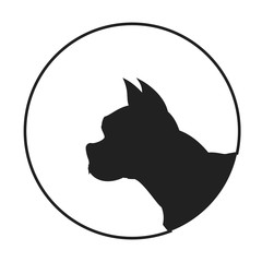 Silhouette of a dog head french bulldog