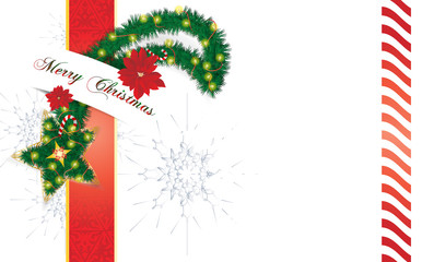 Christmas star background, made as pine tree holiday wreath with lights, ornaments and decorations.