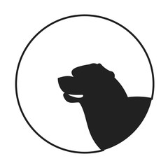 Silhouette of a dog head rottweiler