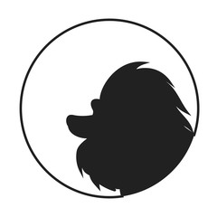 Silhouette of a dog head poodle
