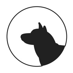 Silhouette of a dog head siberian husky