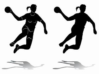Silhouette woman handball player. vector drawing